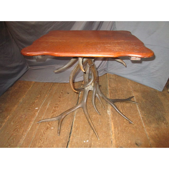 Oak Top Table With Antler Base - Image 2 of 6