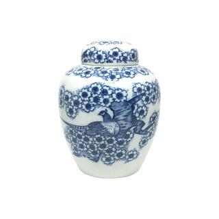 Blue & White Peacock Ginger Jar