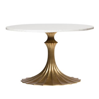 Emporium Home White Marble Top & Fluted Gold Base Dining Table