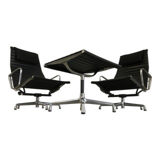 Vintage Herman Miller Eames Aluminum Group Lounge Chairs & Ottoman - Set of 3