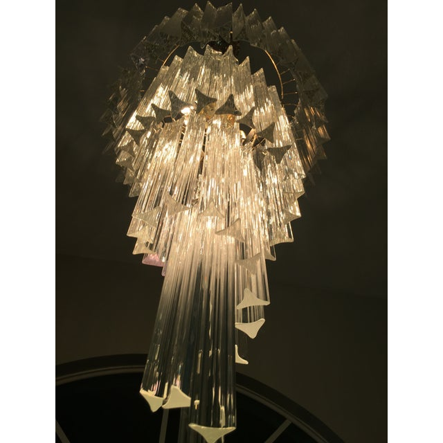 Vintage Spiral Glass Chandelier with Tri-Points - Image 4 of 4