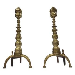 Vintage Aged Brass Andirons