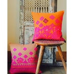 Image of Vintage Hand Embroidered Pink Pillow