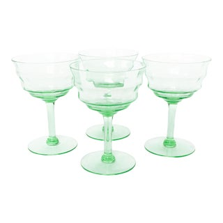 Art Deco Green Coupe Cocktail Glasses - Set of 4
