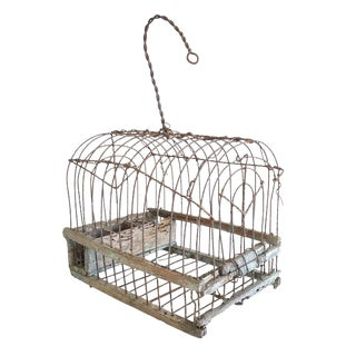 Antique Handmade Wood & Wire Cage