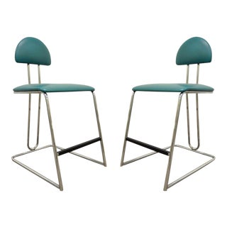 Vintage Loewenstein Mid Century Modern Memphis Style Chrome Bar Stools Chairs - a Pair
