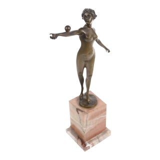 Art Nouveau Nude Female Bronze Sculpture