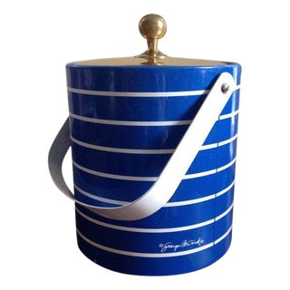 Georges Briard Blue & White Striped Ice Bucket