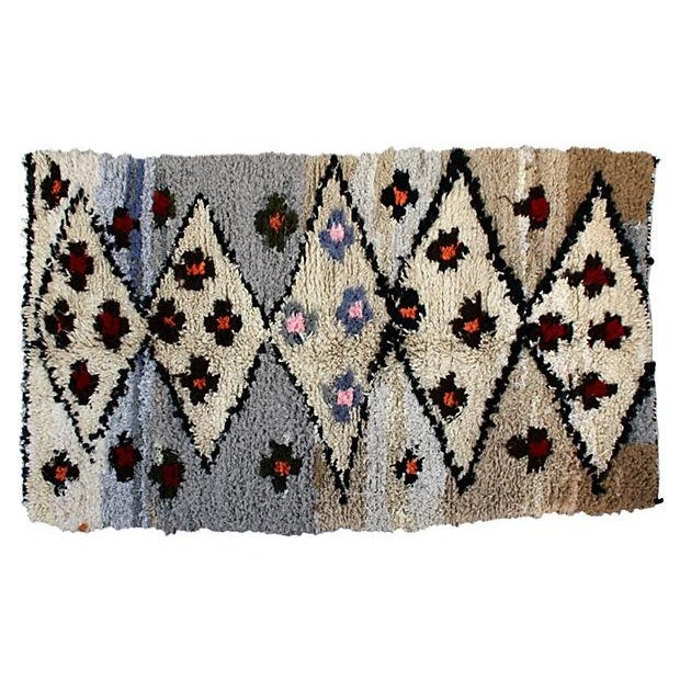 Image of Blue and Tan Moroccan Azilal Rug, 7' X 3'10''