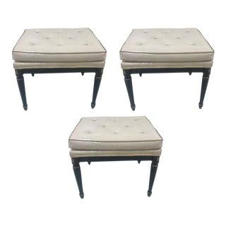 Signed, Three Maison Jansen Leather Benches