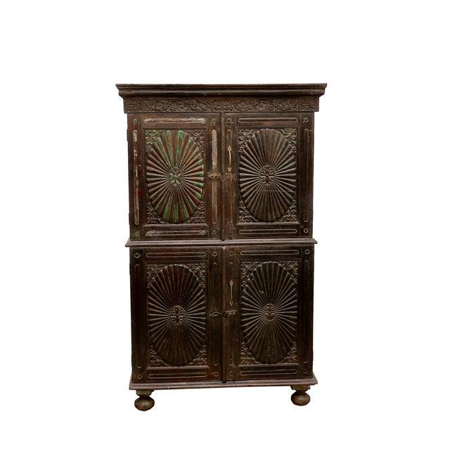 Antique Indo Portuguese Sunburst Armoire Cabinet - Image 7 of 7