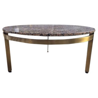 Mid Century Granite & Brass Base Coffee Table