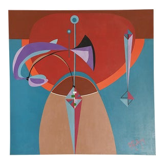 Mid-Century Geometric Abstract Painting on Canvas