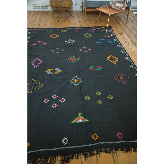 Black Moroccan Embroidered Kilim Carpet - 6' x 9' - Image 7 of 7