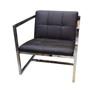 Retro Black Leather Square Chair