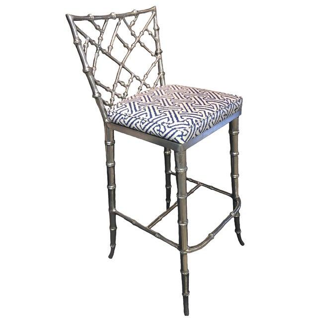 Image of Phyllis Morris Silver Bamboo Barstools - Pair