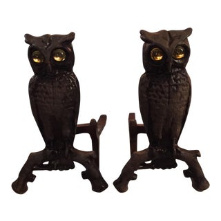 Cast Iron Owl Andirons - A Pair