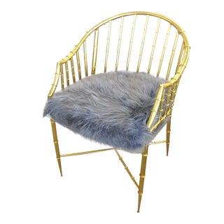 Gold Bamboo Motif Chair W/ Faux Fur Cushion