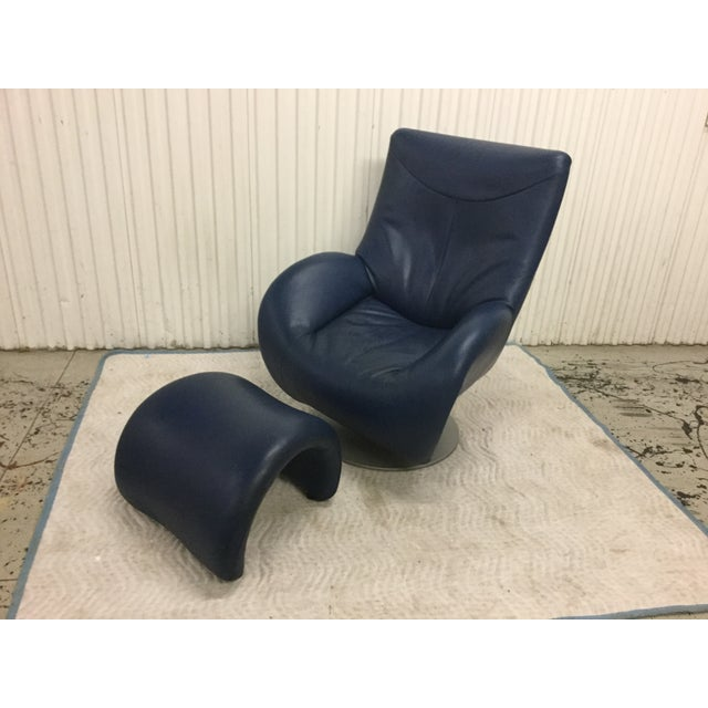 Image of 1980s Post Modern Leolux Leather Chair & Ottoman