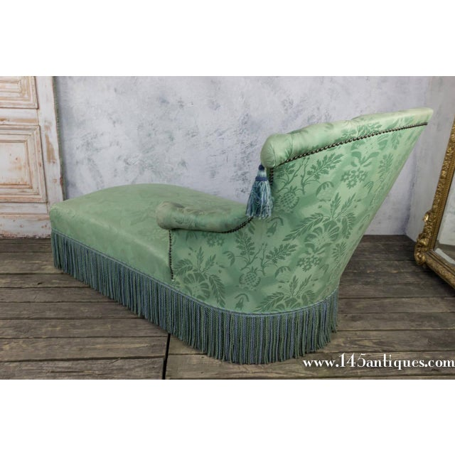 19th c french damask chaise lounge chairish for Black and white damask chaise lounge