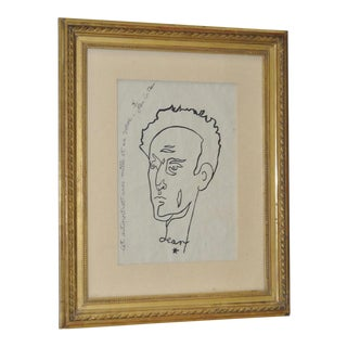 "Jean Cocteau Original Pen & Ink ""Self Portrait w/ 1001 Vows"""
