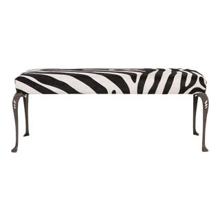 Ornate 1920s Zebra Patterned Bench