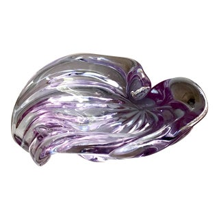 Mid Century Italian Murano Alfredo Barbini Sommerso Purple Ribbed Art Glass Bowl