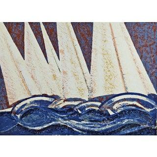Abstract Sailboats Serigraph on Paper