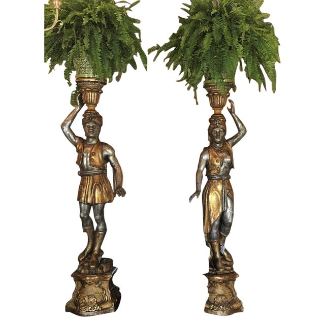 Pair of Huge Venetian Gilt-Wood Designer Blackamoor Plant Stands / Lamps - Image 1 of 6