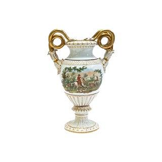 Antique Hunt Scene Meissen Porcelain Urn
