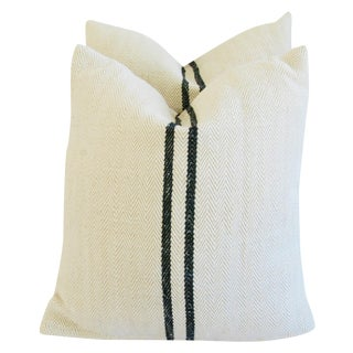 French Black Striped Grain Sack Pillows - Pair