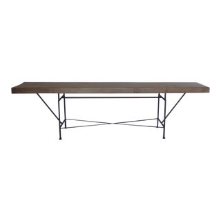 Long Skinny Reclaimed Wood Console Table With Iron Base