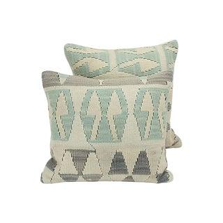 Geometric Turkish Kilim Throw Pillows - A Pair