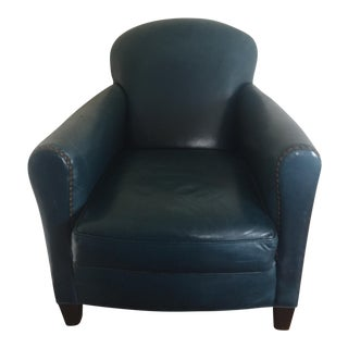 Lee Industries Blue Leather Nailhead Lounge Chair