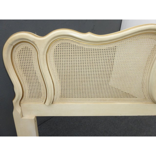 Vintage French Provincial White Cane King Sized Headboard - Image 8 of 11