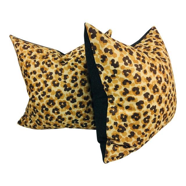 Faux Leopard Cotton Print Pillows- a Pair - Image 1 of 3