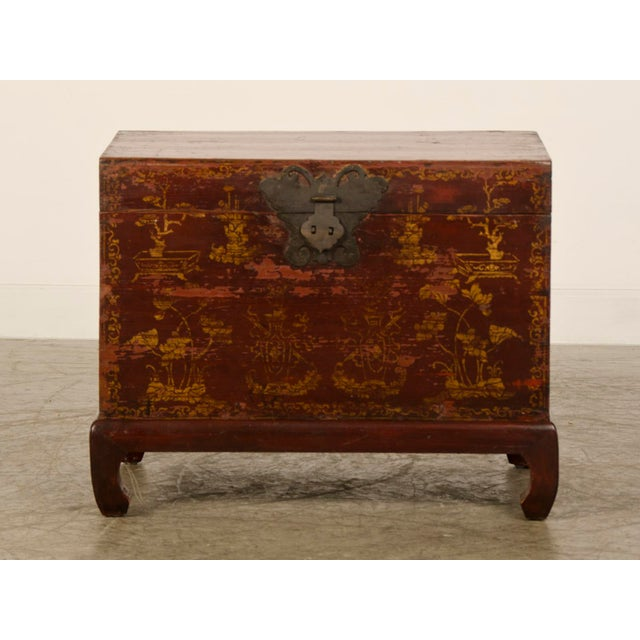 Red Lacquer Antique Chinese Trunk Kuang Hsu Period circa 1875 - Image 3 of 11