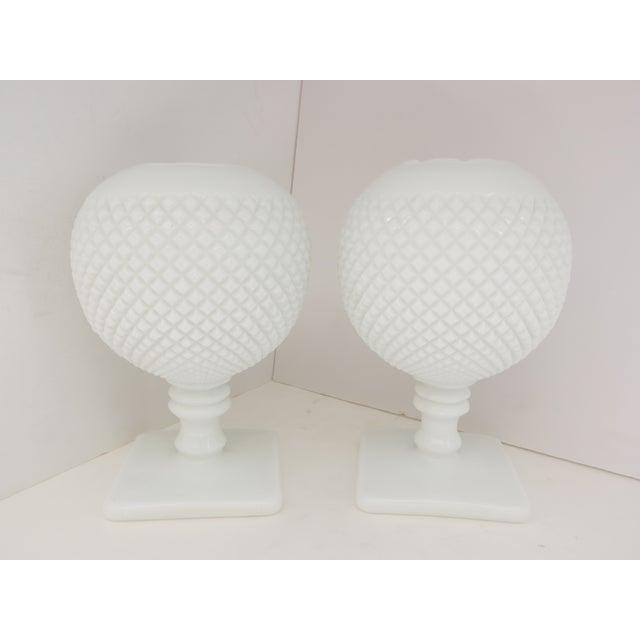 Milk Glass Diamond Point Vases - A Pair - Image 2 of 5