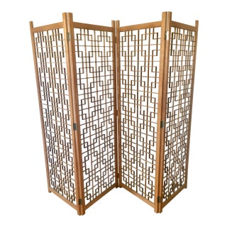 Mid-Century Teak 4 Panel Screen
