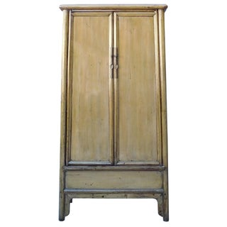 Chinese Distressed Tall Armoire in Light Mustard