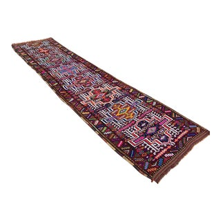 Vintage Hand Knotted Turkish Runner - 3′2″ × 13′