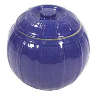 Blue Ceramic Cookie Jar or Bean Pot