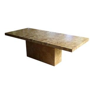 1970s Milo Baughman Burl Olive Wood Dining Table