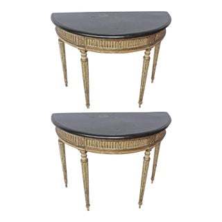 Rare Pair of Italian Neoclassical Console Tables