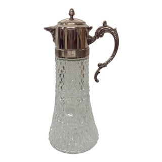 Vintage Italian Glass & Silver Claret Jug