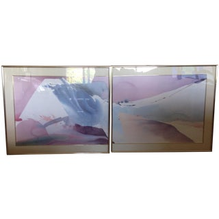 Abstract  Prints by Peter Kitchell - A Pair