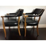 Image of Mid-Century Style Black Armchairs - A Pair