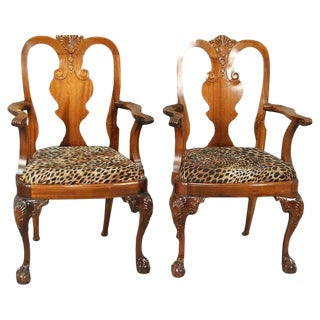 Chippendale Leopard Print Chairs - a Pair