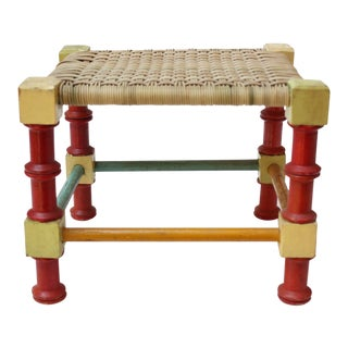 Mid-20th Century Multi-Color Folk Art Stool