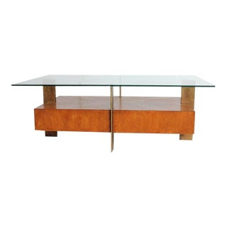 Modern Wood and Metal Coffee Table with Glass Top